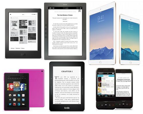Různá zařízení na čtení e-knih