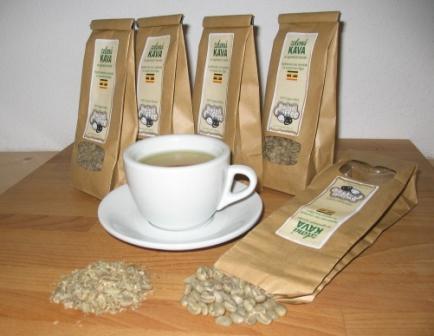 Zelená káva v hrníčku